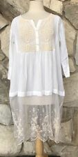 Antica Sartoria White Ecru Lace Embroidered Tunic Blouse Beach Boho Cover Sz S