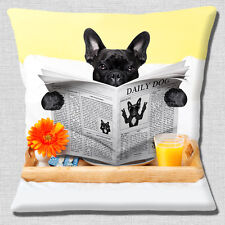 """FUNNY BLACK FRENCH BULLDOG READING NEWSPAPER BREAKFAST 16"""" Pillow Cushion Cover"""