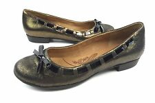 Sofft Paola Womens 7M Bronze Leather Black Patent Bow Trim Slip On Flats Shoes