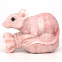 "Mouse Statue Pink Opal Stone Figurine Crystal Healing Reiki Home Decor 3"""