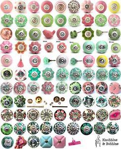 Pink green ceramic knobs drawer pulls cupboard door knobs porcelain china K&B