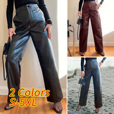 Size Womens Faux Leather PU PVC Pants Black Long Trousers Loose Elastic Wide Leg