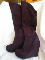 """ALDO BLACK FAUX SUEDE LEATHER WEDGE BOOTS 26"""" TALL PLATFORM 8.5 M"""