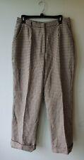 David N Pants Women's Wool Dress Pants Size 14 Houndstooth Ivory Black Lined
