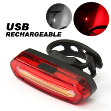 Red COB LED Bicycle Bike Cycling Front Rear Tail Light USB Rechargeable 6 Modes