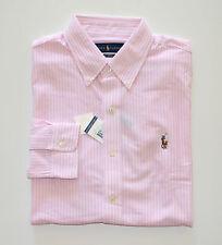 NWT Men Ralph Lauren Oxford Knit Casual Long-Sleeve Shirt White Pink, XXL, 2XL