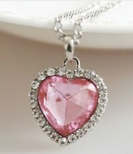 "Titanic Heart Of Ocean Pendant & 20-22"" chain necklace Silver Colour Pink"