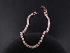 18K Rose Gold Filled GF Tennis Bracelet made w Swarovski Crystal Stones Pretty