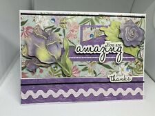 Handmade greeting card Thank You You Are Amazing Kindness Purple Flower 3D