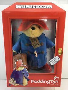 PADDINGTON BEAR *60TH ANNIVERSARY IN TELEPHONE BOX SOFT PLUSH COLLECTABLE TOY.