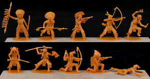 Airfix Indians - 10 figures in all 10 foot poses - 1980s Production - mint