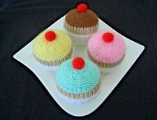 4 Hand Knitted Cupcakes - Toy Food