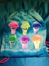 New Claire's My Friends Are The Best Ice Cream Cone Draw String Bag/Backpack