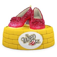 Ruby Slippers 2016 Hallmark Wizard of Oz Ornament Magic Light Glitter Red Shoes
