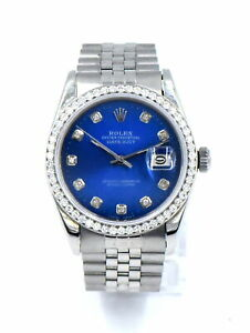 ROLEX OYSTER PERPETUAL DATEJUST 16014 DIAMOND DIAL BEZEL WATCH STAINLESS c1985