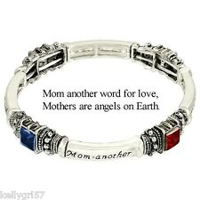 Mother, Mom Is Word for Love, Angel on Earth, Multicolor Stretch Bracelet #46-D