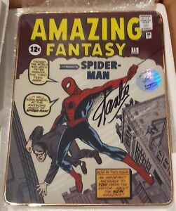 MARVEL STAN LEE SIGNED THE AMAZING FANTASY # 15 FRANKLIN PLATE MINT SPIDER-MAN