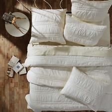 NATASHA PEARL WHITE 3pc King Quilt Set Cotton Country Ruching Vanilla Creme