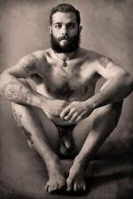 tattooed tattoos male nude 1890s Vintage Old Photo (Reprint)