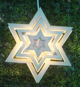 Stern Holz 30 cm Fensterbeleuchtung (54817) Weihnachtsdeko Fensterdeko