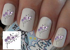 Butterfly Nail Art Decals Transfers Stickers Wraps Foils Nail Pedicure X 40