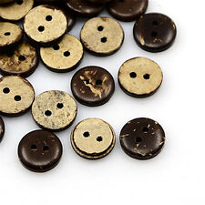 100pcs Coconut Buttons 2-Hole Flat Round CoconutBrown 11x3mm Hole: 1mm