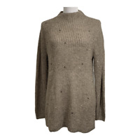 Chico's 1 women's sweater pullover mock neck chunky ribbed knit sequins medium