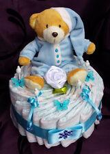 Windeltorte blau, Bär mit Schlafanzug, Taufe, Babyparty, Junge, Pampers Gr. 3