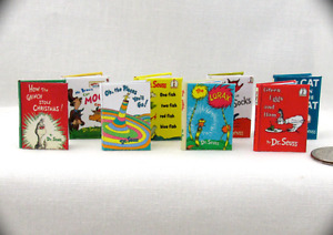 DR. SEUSS set of 8 Dollhouse Miniature Books 1:12 Scale Books 1 Inch Scale Read
