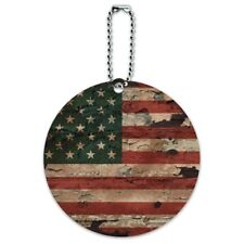 Rustic American USA Flag Distressed Round Luggage ID Tag Card Suitcase Carry-On