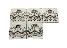 Antique White Tile Set with Floral Design
