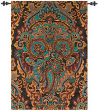 Ariana Turquoise & Gold Paisley Tapestry Wall Hanging