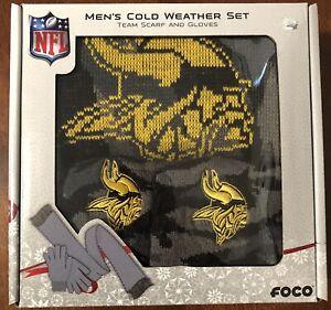 Minnesota Vikings FOCO Glove & Scarf Combo Set Black/Yellow