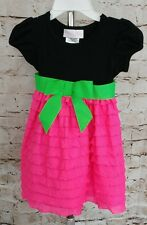 Bonnie Baby Girls Dresses 12M Tiered Ruffle Holiday Pageant Church Pink Black