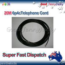 20m 6P4C RJ11 RJ12 Telephone ADSL Cross Over Line Cord Cable Black Made in AU