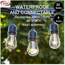 6Pcs 20m S14 String Lights Festoon Christmas Party Outdoor Marquee Vintage Black
