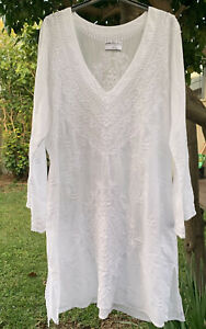 One Season White Embroidered Cotton Voile Top Tunic Size XL Or 16