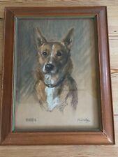 More details for rare antique basenji dog painting 1948 original frame basenjis vg condition