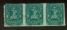 Mexico 242b 1 cent Perf 6 strip of 3 Scott $105.00+