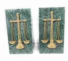 Scales of Justice Green Marble Bookends Legal Lawyers Judicial 3D