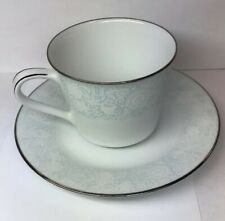 Retired Noritake Ravel Pattern White Flowers w/Blue Silver Trim Cup/Saucer Set