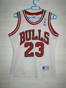 NBA #23 MICHAEL JORDAN CHICAGO BULLS SHIRT CHAMPION JERSEY SIGNED SIZE XS