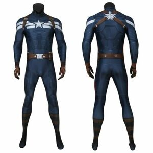 Captain America Costume Cosplay Jumpsuit Steve Rogers The Winter Soldier 3D