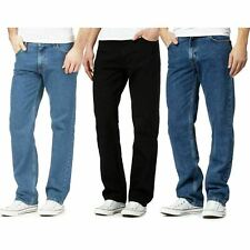Mens Straight Leg Denim Jeans Black Blue Classic Denim Jeans All Waist Sizes