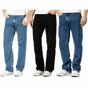 Mens Straight Leg Denim Jeans Black Blue Classic Denim Jeans All Waist Sizes
