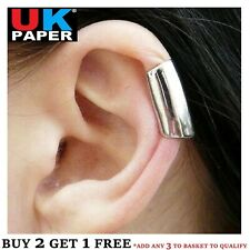 SILVER LONG SMOOTH CARTILAGE UPPER HELIX EAR CUFF CLIP-ON WRAP EMO PUNK EARRING