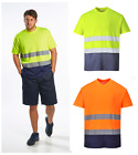 Portwest Two Tone Hi Vis Safety T Shirt Tee Top Short Sleeve Cotton Comfort S173