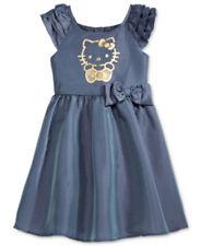 Hello Kitty Girls Dress Sanrio Metallic Print Bow Detail Blue Gray Size 6X