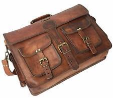 Unisex Genuine Vintage Goat Real Leather Messenger Shoulder Laptop Briefcase bag
