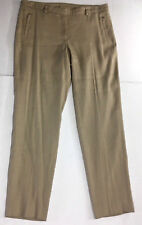 Worth New York Womens Linen Pants Sz 8 Beige Fully Lined Zippered Pockets 28.5""